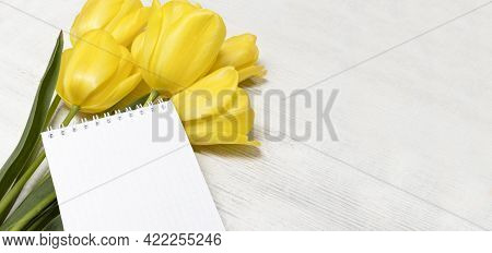 Bouquet Of Tulips On A White Rustic Wooden Background. Spring Flowers. Spring Background With Place