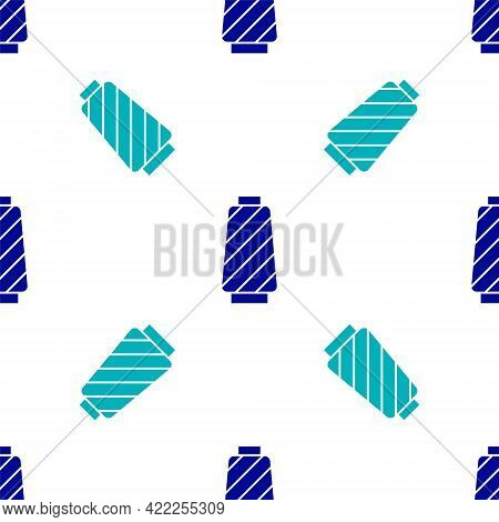 Blue Sewing Thread On Spool Icon Isolated Seamless Pattern On White Background. Yarn Spool. Thread B