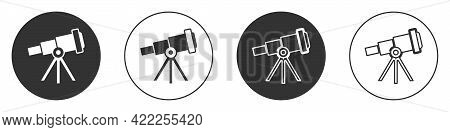 Black Telescope Icon Isolated On White Background. Scientific Tool. Education And Astronomy Element,
