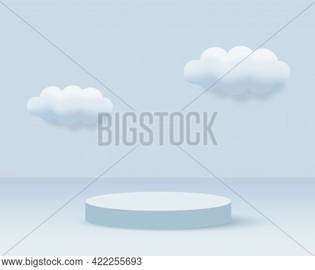 3d Blue Rendering With Podium And Minimal Cloud Scene, Minimal Product Display Background 3d Rendere
