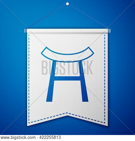 Blue Japan Gate Icon Isolated On Blue Background. Torii Gate Sign. Japanese Traditional Classic Gate