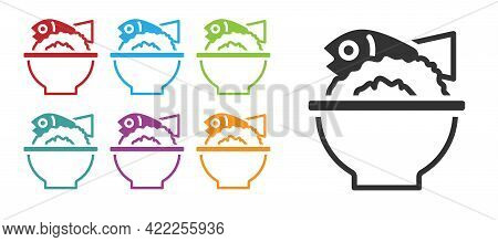 Black Served Fish On A Bowl Icon Isolated On White Background. Set Icons Colorful. Vector
