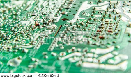 Electronic Printed Circuit Board With Soldered Contacts On The Reverse Side Of The Parts.