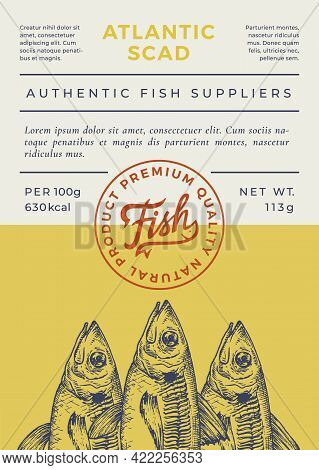 Ocean Fish Abstract Vector Packaging Design Or Label. Modern Typography Banner, Hand Drawn Scad Sket