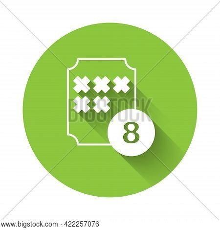 White Bingo Or Lottery Ball On Bingo Card With Lucky Numbers Icon Isolated With Long Shadow. Green C