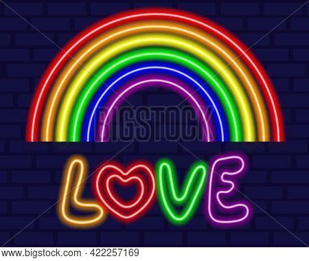 Neon Glowing Rainbow. Lgbt Tolerance. Happy Gay Pride Month. Lgbt Community. Vector Illustration.