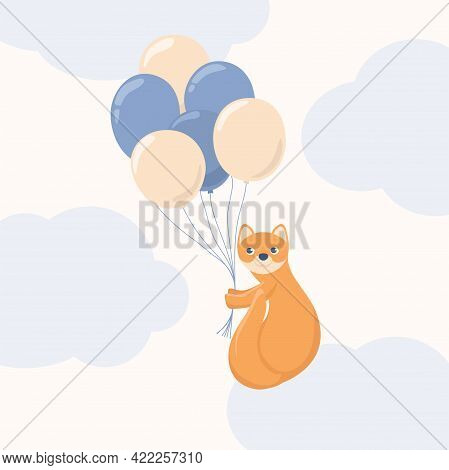 Sable In The Sky Flying On Balloons.cute Childish Illustration In Pastel Colors. Beautiful Delicate