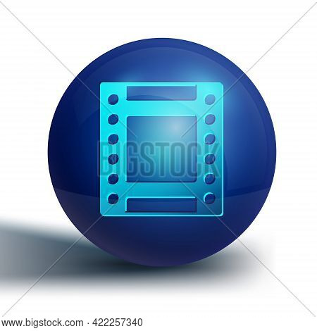 Blue Camera Vintage Film Roll Cartridge Icon Isolated On White Background. 35mm Film Canister. Films