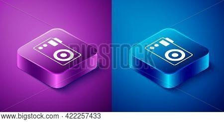 Isometric Photo Camera Icon Isolated On Blue And Purple Background. Foto Camera. Digital Photography