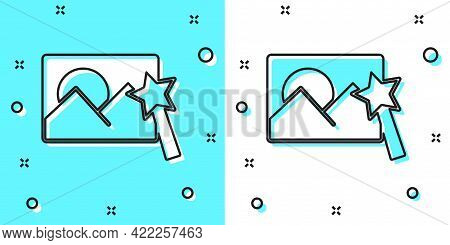 Black Line Photo Retouching Icon Isolated On Green And White Background. Photographer, Photography,
