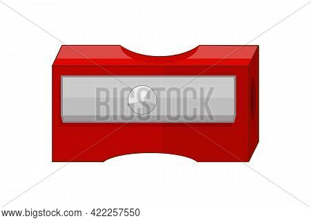 Pencil Sharpener Isolated On White Background. Cartoon Red Sharpener Icon. Plastic Sharpener With On