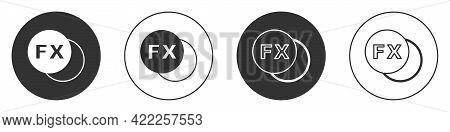 Black Photo Camera Fx Icon Isolated On White Background. Foto Camera. Digital Photography. Circle Bu