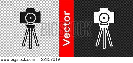 Black Photo Camera Icon Isolated On Transparent Background. Foto Camera. Digital Photography. Vector