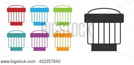 Black Camera Photo Lens Icon Isolated On White Background. Set Icons Colorful. Vector