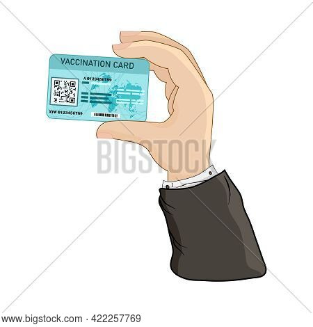 Hand Holding Vaccination Card Isolated On White Background. Get Vaccine. Coronavirus Vaccine. Health