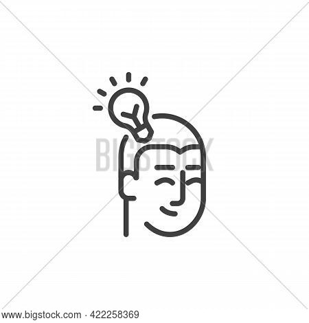 Idea Head Line Icon. Linear Style Sign For Mobile Concept And Web Design. Head And Light Bulb Outlin