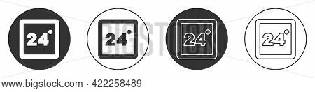 Black Thermostat Icon Isolated On White Background. Temperature Control. Circle Button. Vector