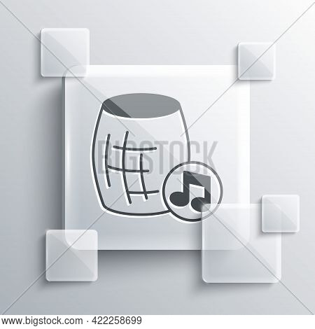 Grey Voice Assistant Icon Isolated On Grey Background. Voice Control User Interface Smart Speaker. S