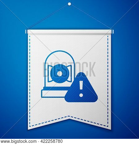 Blue Ringing Alarm Bell Icon Isolated On Blue Background. Alarm Symbol, Service Bell, Handbell Sign,
