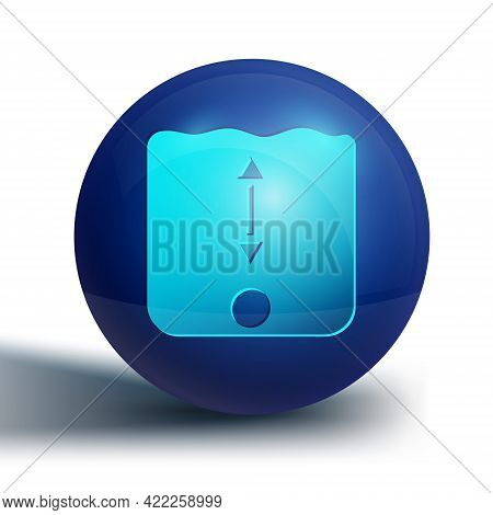 Blue Depth Measurement Icon Isolated On White Background. Water Depth. Blue Circle Button. Vector