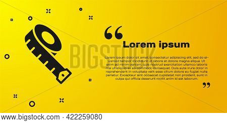 Black Measuring Tape Icon Isolated On Yellow Background. Tape Measure. Vector