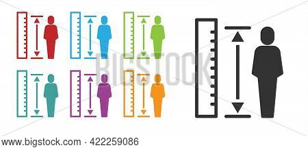 Black Measuring Height Body Icon Isolated On White Background. Set Icons Colorful. Vector