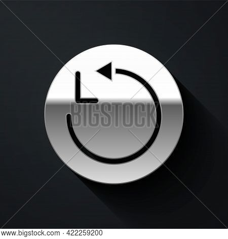 Silver Radius Icon Isolated On Black Background. Long Shadow Style. Vector