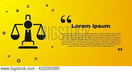 Black Scales Of Justice Icon Isolated On Yellow Background. Court Of Law Symbol. Balance Scale Sign.