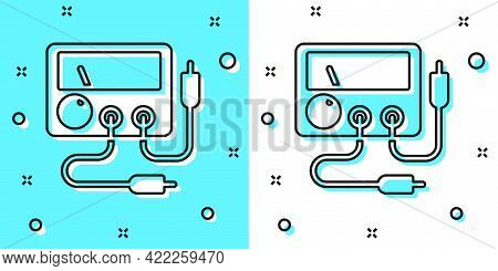 Black Line Ampere Meter, Multimeter, Voltmeter Icon Isolated On Green And White Background. Instrume