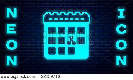 Glowing Neon Calendar With Haircut Day Icon Isolated On Brick Wall Background. Haircut Appointment C