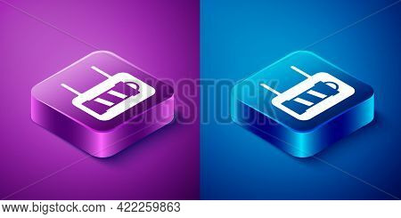 Isometric Classic Barber Shop Pole Icon Isolated On Blue And Purple Background. Barbershop Pole Symb