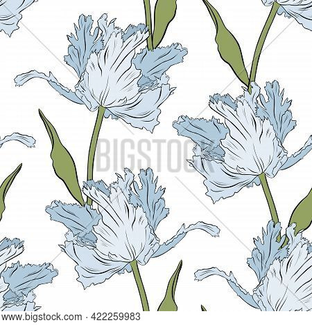 Terry Blue Tulips. Seamless Pattern. Hand Drawn Vector Illustration. Line Art. Texture For Print, Fa