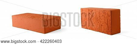 Brick Sideways From Two Angles Isolated On A White Background.