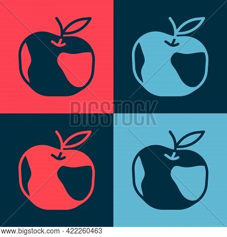 Pop Art Apple Icon Isolated On Color Background. Excess Weight. Healthy Diet Menu. Fitness Diet Appl