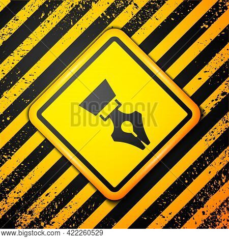 Black Fountain Pen Nib Icon Isolated On Yellow Background. Pen Tool Sign. Warning Sign. Vector