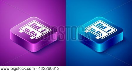 Isometric Shelf With Books Icon Isolated On Blue And Purple Background. Shelves Sign. Square Button.