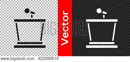 Black Stage Stand Or Debate Podium Rostrum Icon Isolated On Transparent Background. Conference Speec