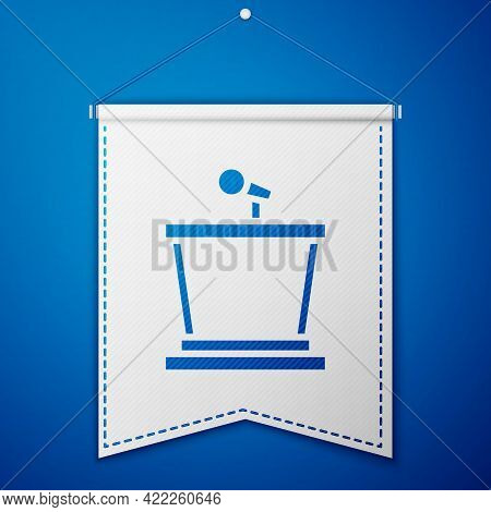 Blue Stage Stand Or Debate Podium Rostrum Icon Isolated On Blue Background. Conference Speech Tribun
