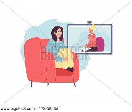 Female Psychologist Have Online Session With Sad Girl Having Mental Problem.