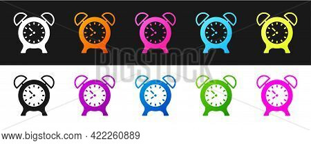 Set Alarm Clock Icon Isolated On Black And White Background. Wake Up, Get Up Concept. Time Sign. Vec