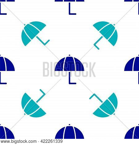 Blue Umbrella Icon Isolated Seamless Pattern On White Background. Insurance Concept. Waterproof Icon