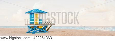 Light Airy Tropical Florida Landscape With Blue Yellow Lifeguard House. American Florida Nature Ocea