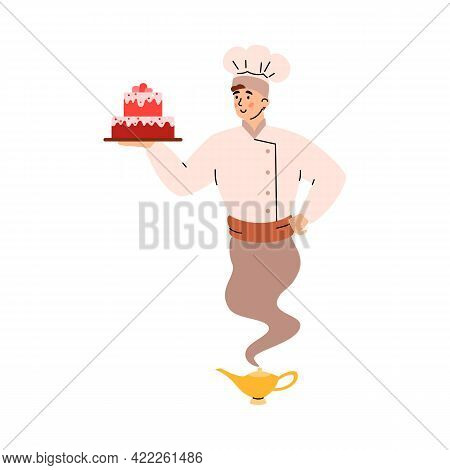 Cook Or Confectioner Looking Like Genie, Cartoon Vector Illustration Isolated.
