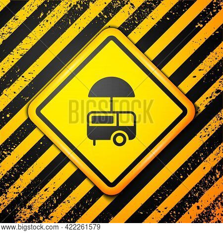 Black Fast Street Food Cart With Awning Icon Isolated On Yellow Background. Urban Kiosk. Ice Cream T