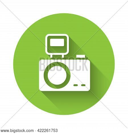 White Photo Camera With Lighting Flash Icon Isolated With Long Shadow. Foto Camera. Digital Photogra