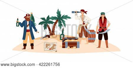 Pirate Island With Cartoon Sea Pirates Characters, Vector Illustration Isolated.