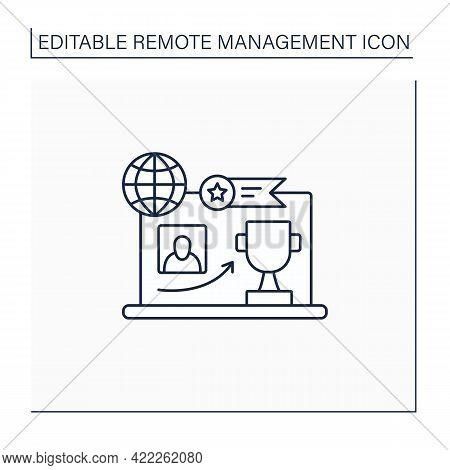 Reward Achievement Line Icon. Good Job. Rewarding. Employer Growth. Best Results.remote Management C