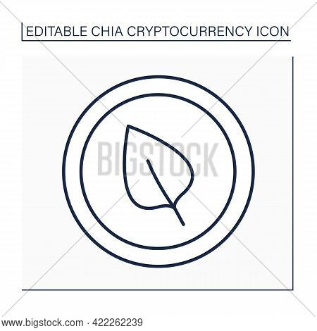 Chia Cryptocurrency Line Icon. Computer Hard Disk Space. Blockchain. Energy-efficient And Eco-friend
