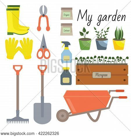 Set Of Different Isolated Garden Tools On A White Background. Set With Plants, Tools On The Theme Ga