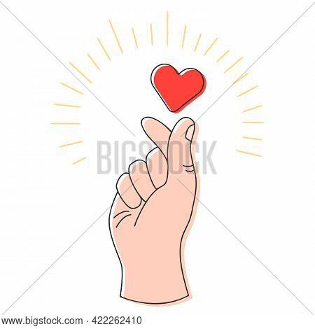 Korean Heart Sign. Finger Love Composition. Vector Illustration. Korean Heart Icon For Print Greetin